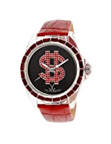 Toy Watch Black Dial Red Leather Strap Unisex Watch (D10BKR)