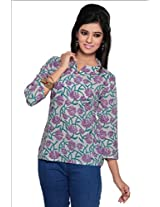 Missprint Off white and Purple 3/4 Sleeves Printed Top