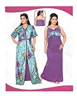 Indiatrendzs Women's Cotton Nighty Purple 2pc Set Sexy Sleepwear -Freesize