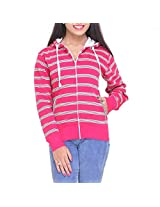 CLUB YORK Women's Cotton Bleand Sweatshirt (Fushia/White) (Large)