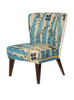Kantha Arm Chair, Blue/Natural Multi