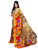 Yomeeto Georgette Fabric Yellow Coloured Printed Saree