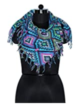 Uso Uno scarf on diamond print multi colour with 4 side self knot fringes