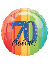 """Anagram International Aged To Perfection A Year To Celebrate 70th Balloon, 18"""", Multicolor By Anagram International"""