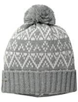 Coal Women's The Olive Geometric Pattern Beanie with Pom Pom and Ribbed Cuff, Heather Grey, One Size