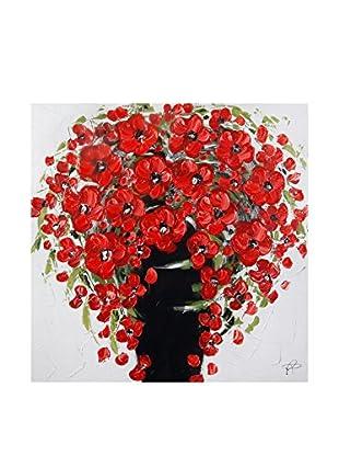 Arte dal Mondo  Wandbild Paolo Rossini Dipinto Vaso Fiori Rossi