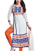 Clickedia Women Georgette Straight White & Orange with Embroidery work - Dress Material