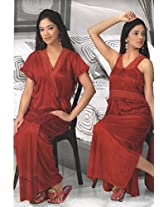 Indiatrendzs Women's Sexy Hot Nighty Hot Red 2pc Set Silk Satin Nightwear Dress-Freesize
