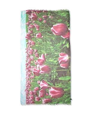 CHIC Women's Tulips Digital Woven Viscose Scarf, Purple, One Size