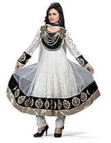 Jinaam Dress Women Brasso & Net Dress Material (Jd-3015A _Cream & Black _30)