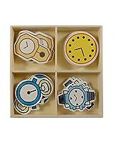 18-20 Pcs. (Approx.) Self-Adhesive Wooden Fun Cartoon Painted Shape Cutouts - Drawing, Arts & Craft Gifts Materials - Watch Design
