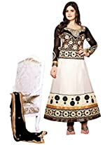 White And Black Embroidery Designer Anarkali Suit