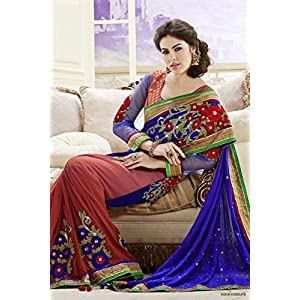Faux Georgette Saree in Blue and rust Colour 3229