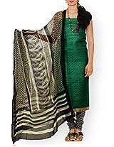 Unnati Silks Women Unstitched wedding green-cream pure Tussar ghicha silk salwar Kameez