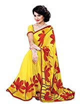 Riti Riwaz Yellow & Maroon saree with unstitched blouse RVL341A