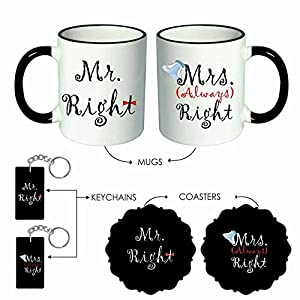 Giftsmate Mr. & Mrs. Right Couple Hamper with 2 Mugs, Coasters, Keychains. Anniversary gifts for Couple