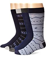 Lucky Men's 4 Pair Pack Fairisle Crew Socks, Denim, 10-13/Shoe Size 6-12
