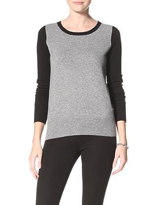 Christopher Fischer Women's Colorblock Sweater (Black/Mid Grey Heather)