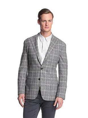 Façonnable Men's Large Windowpane Sportcoat (Grey)