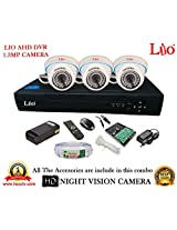 AHD LIO 4CH DVR + AHD 1.3 Megapixel High Resolution LIO 36IR DOME CAMERA 3pcs + 1 TB WD HDD + CABLE 3+1 COPPER + POWER SUPPLY (FULL COMBO)