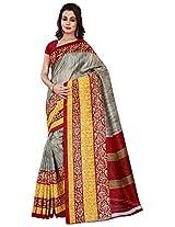 Silk Bazar Women's Tassar Silk Saree with Blouse Piece (Grey & Yellow)