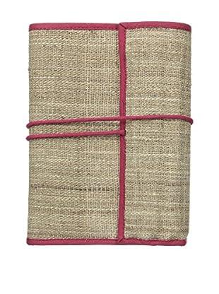 Marina Vaptzarov Hand-Woven Nettle Fabric Notepad & Set of 12 Color Pencils, Fuchsia