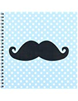 3dRose db_110763_1 Funny Black Mustache on Blue Polka Dots-Drawing Book, 8 by 8-Inch