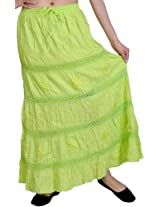 Exotic India Elastic Skirt with Sequins and Crochet Border - Color Flourescent GreenGarment Size Free Size