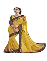 Shaktideal Decent Yellow Georgette Saree
