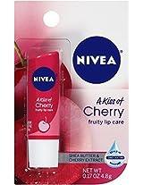 Nivea Lip Balm - A Kiss Of Cherry - Shea Butter & Cherry Extract - Net Wt. 0.17 OZ (4.8 g) Each - Pack of 6