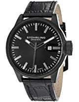 Stuhrling Original Men`s 468.33551 Octane Concorso Black Ion-Plated Stainless Steel Watch with Leather Band