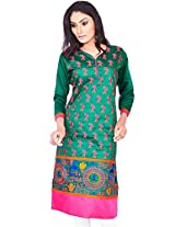 Rucchi By Praveen Women's Cotton-Silk Green Kurti