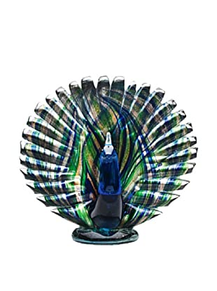 Dynasty Gallery Hand-Made Shimmering Glass Peacock