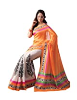 Clickedia Women Bhagalpuri Cotton Pink & Yellow Beautiful Saree With Attached blouse Pc
