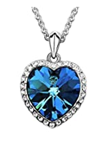 8 Republic London Mother's Day Special Valentine Titanic Inspired Blue Sapphire Heart Pendant Necklace For Women