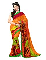7 Colors Lifestyle Orange & Green Coloured Faux Georgette Printed Saree