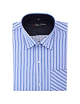 Your Desire Shirts Men Cotton Light Blue and White Formal Shirt (Size 42)