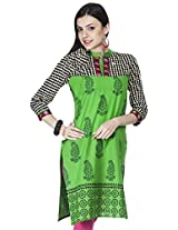 Shop Avenue Women's Cotton Regular Fit Kurti (WGS07112, Green, XX-Large)