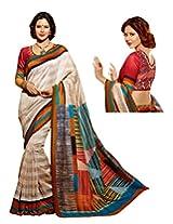 Brijraj White Multi Bhagalpuri silk Beautifull Printed Saree Wih Unstitch Blouse