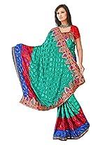 Sehgall Sarees Indian Professional Ethnic Poly Silk Crape colour rama