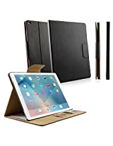 iPad Pro Case, BoxWave® [FolioView Leather Case] Leather Smart Folio Cover w/ Stand for Apple iPad Pro - Nero Black