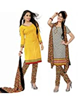 Khushali Presents Chudidar Unstitched Dress Material(Yellow,Cream,Multi)