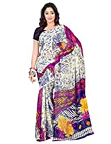 Admyrin Off-white Printed Georgette Saree with Georgette Saree