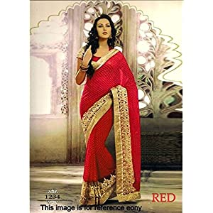 beautiful bollywood style saree in red colour with golden border