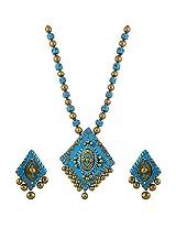 Avarna Terracotta Necklace Set Nsa0020 For Women (Blue )