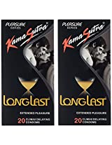 KamaSutra Long Last Condom - 20 Pieces (Pack of 2)