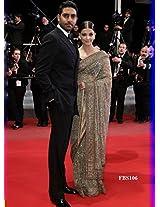 Beautiful Ashwarya Rai In Cream Net Saree