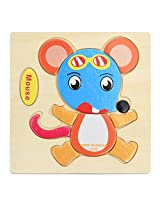 Imported Wooden Cartoon Mouse Shape Puzzle Kids Baby Educational Toy