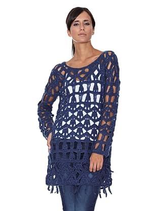 Peace & Love Jersey Tricotosa Lurex (Azul)
