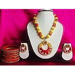 Yellow n red Fashion Jewellery Set bangle size 2:4 Size